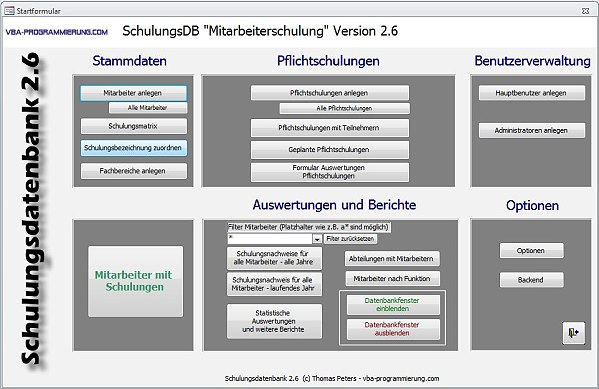 Schulungsdatenbank Screenshot 1